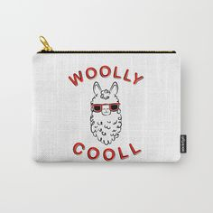 Woolly Cooll Cute Llama Pun Carry-All Pouch by rachelignatiev Makeup Pouch, Cosmetic Pouch, Llama Puns, Cute Pencil Pouches, Llama Gifts, Cute Llama, Holiday Gift Guide, Gift For Lover, Zipper Pouch