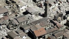 Damaged buildings in the historical part of Amatrice, 24 Aug 16