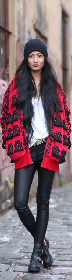 Modern Urban Comfy Fashion style women apparel clothing outfit cap coat red pants leggings boots white spring autumn street