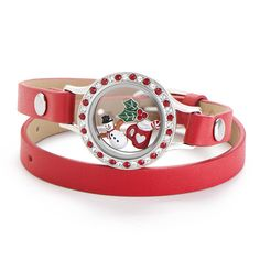 Origami Owl Winter Collection 2016. The Seasonal Exclusive Candy Cane Wrap Living Locket® featured on our Red Genuine Leather Wrap Bracelet adds just the right amount of holiday cheer to your look this season. Click to shop or pin for later!