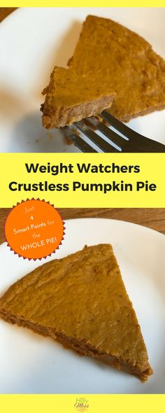 This Weight Watchers Crustless Pumpkin Pie recipe is just 4 smart points for the WHOLE pie. Enjoy all the pumpkin pie flavors you love, guilt free. Weight Watcher Desserts, Plats Weight Watchers, Weight Watchers Diet, Weight Watcher Cookies, Weight Watchers Crustless Pumpkin Pie Recipe, Pumpkin Pie Recipes, Weight Watchers Pumpkin Pudding Recipe, Pumpkin Pie Crustless, Pumpkin Pie Cupcakes