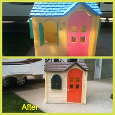 Re-paint an old playhouse to give it a new feel.  My daughter picked out the colors.  Used spray paint for plastics after it had been pressure washed.