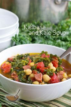 Delicious recipe for homemade Kale Soup with Kielbasa, made in just 15 minutes!