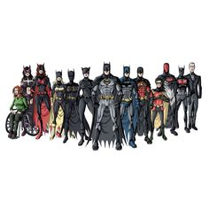 """The entire Bat-Family"" Bruce Wayne (Batman), Dick Grayson (Nightwing/Batman), Jason Todd (Red Hood), Tim Drake (Red Robin), Damian Wayne (Robin/RedBird), Terry McGinnis (""Future"" Batman), Alfred Pennyworth, Barbra Gordon (Batgirl/Orical), Selina Kyle (Catwoman), Helena Bertinelli (The Huntress), Cassandra Cain (Black Bat), Stephanie Brown (Robin/Batgirl) Katherine Kane (Batwoman)"