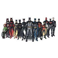 """The entire Bat-Family"" Bruce Wayne (Batman), Dick Grayson (Nightwing/Batman), Jason Todd (Red Hood), Tim Drake (Red Robin), Damian Wayne (Robin/RedBird), Terry McGinnis (""Future"" Batman), Alfred Pennyworth, Barbra Gordon (Batgirl/Orical), Selina Kyle (Catwoman), Helena Bertinelli (The Huntress), Cassandra Cain (Black Bat), Stephanie Brown (Robin/Batgirl) Katherine Kane (Batwoman)"
