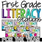 These literacy stations are perfect for the 1st grade classroom! Students have the opportunity to work together, apply literacy skills and strategies, gain independence, and have FUN! The centers were created for a quick and easy set up! Everything is black and white. The only color comes from the vocabulary puzzles, but they print great in grayscale. #HollieGriffithTeaching #KidsActivities #BackToSchool
