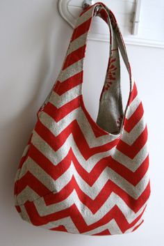 Reversible bag tutorial - about 3/4 yard of each fabric (it may be half that, it's worded a little funny.)
