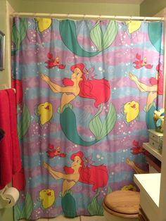 The Little Mermaid Shower Curtain I Made Out Of A Used Bedsheet I Found For  1.99