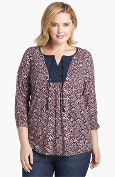 Lucky Brand 'Moroccan' Print Top (Plus Size) (Save Now through available at Short Kurti Designs, Simple Kurti Designs, Kurta Designs, Blouse Designs, Stylish Plus Size Clothing, Plus Size Fashion, Pijama Plus Size, Plus Size Dresses, Plus Size Outfits