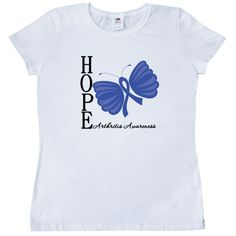 Hope Butterfly Arthritis Women's T-Shirt - White | Cancer Shirts | Disease Apparel | Awareness Ribbon Colors