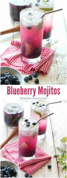Blueberry Mojitos. A delicious seasaonal cocktail recipe with muddled fresh mint, lime juice, fresh blueberries and rum. For those not wanting the liquor, there is a faux-jito recipe option too! - http://BoulderLocavore.com