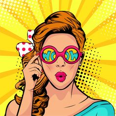 Similar Images, Stock Photos & Vectors of Wow pop art face. Sexy surprised woman with pink curly hair and open mouth holding sunglasses in her hand with inscription wow in reflection. Vector colorful background in pop art retro comic style. Art And Illustration, Vector Illustrations, Retro Kunst, Retro Art, Pop Art Drawing, Art Drawings, Pop Art Face, Desenho Pop Art, Art Couple