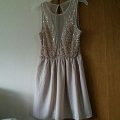 Forever 21 Sequin Dress w/ Mesh Cut Outs Light pink. Deep v mesh, sequin on breasts, slip underneath. Good condition for being frequently worn. Mesh material on back. Got hit on a thousand times in this dress. Forever 21 Dresses Mini