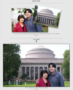 Change photo background to Massachusetts Institute of Technology (MIT) campus. Replace, add or remove background; insert new background. Quick photo editing is free.  http://www.freephotoediting.com/samples/change-background/073_mit-building-as-new-backdrop.htm