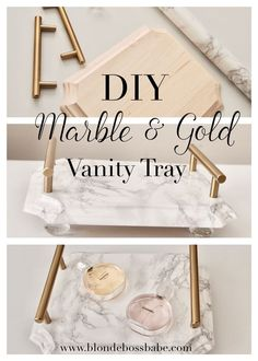 DIY Marble & Gold Vanity Tray, easy and beautiful home decor accent pieces (Diy Vanity Tray) Unique Home Decor, Cheap Home Decor, Gold Home Decor, Diy Home Decor Easy, Thrifty Decor, Decor Diy, Decor Crafts, Home Decor Accessories, Decorative Accessories