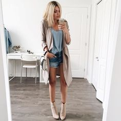 Long nude cardigan.