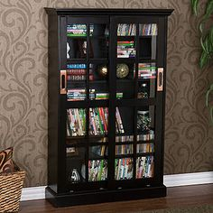 Charming Black Sliding Door Bookcase And Media Cabinet   World Market