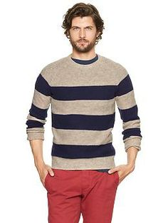 Lambswool rugby striped sweater