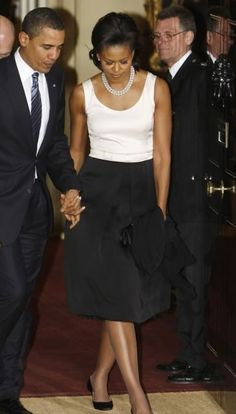 Michelle Obama in Isabel Toledo (April 1, 2009: with President Obama at 10 Downing Street for dinner in London, England)