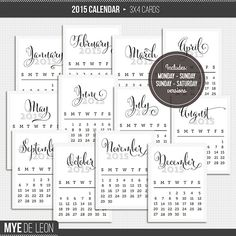 2015 Calendar Cards Freebie for Project Life