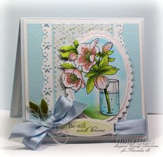 Lenten Rose ; MS border punch ; Spellbinders ovals ; Ribbon trio tags