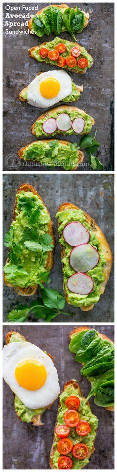 Open Faced Avocado Spread Sandwiches. Satisfying. #Avocados #PinterestDiet