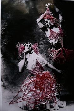 postcard of ladies in stitched dresses    DANCE6 by J 0 2 e, via Flickr