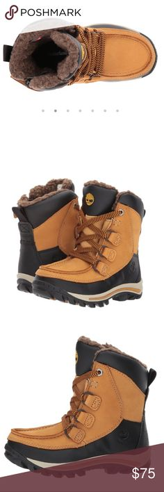 Timberland toddlers wheat boot Premium full-grain waterproof leather uppers. Waterproof membrane keeps their feet dry. Lace-up and zipper closure for snug fit. 200 grams of PrimaLoft® insulation, for temperature control, made from 50% PET (recycled plastic bottles). Climapath™ technology vents moisture up and out of the boot to keep their feet dry. OrthoLite® footbed provides all-day cushioning and support. Rubber lug outsole is made with 34% rubber. Imported. Product measurements were taken…