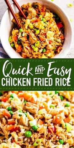 Easy Chicken Fried Rice is a quick and simple dinner you can make any night of t., Chicken Fried Rice is a quick and simple dinner you can make any night of the week. This stir fry is ready in just 30 minutes, full of healthy ve. Chicken Fried Rice Recipe Easy, Easy Rice Recipes, Easy Chicken Recipes, Easy Dinner Recipes, Asian Recipes, Easy Meals, Healthy Recipes, Fried Rice With Chicken, Recipes