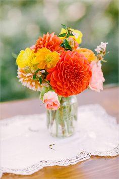Dawn Ranch Lodge Wedding from Matt Edge Photography Orange Wedding Centerpieces, Orange Wedding Flowers, Floral Centerpieces, Wedding Colors, Floral Arrangements, Dahlia Centerpiece, Mason Jar Flower Arrangements, Wedding Decorations, Stage Decorations