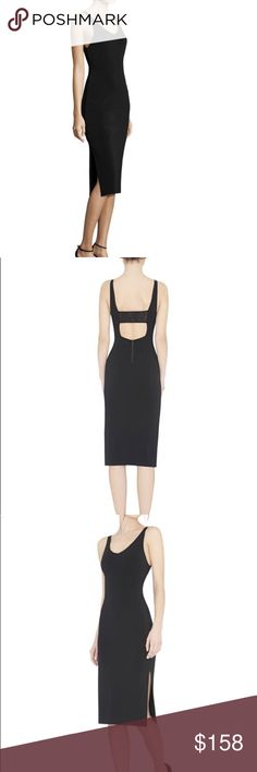 """Alice + Olivia▪️Midi Bodycon Dress▪️NWT Beautiful 'Faith' black midi tank dress by Alice + Olivia. Open back with a sheer lace panel across the back. Fully lined with side slots on both sides. Has an exposed back zip. Stretchy and comfy material. Approx. 45"""" from shoulder to hem. Perfect for wedding season! New with tags. I'm still unsure if I really want to sell. I'm hoping to be able to wear it sometime soon. Alice & Olivia Dresses Midi"""