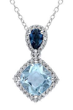 Sterling Silver London Blue Topaz, Sky Blue Topaz, & Diamond Halo Pendant Necklace