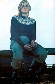 Linda McCartney in a yoked fair isle jumper.