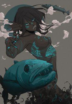 Barracuda by samanthadoodles Fantasy Character Design, Character Design Inspiration, Character Concept, Character Art, Creature Concept Art, Creature Design, Dark Fantasy Art, Fantasy Artwork, Dnd Characters