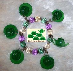 Novelty Green Teacups OOAK Charm Bracelet - Custom Made using Japanese imported pieces! Absolutely One of a Kind!  Bracelet Stretches to fit most wrist sizes.