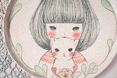 I HAD A LITTLE CAT hand painted original illustration by minini, $300.00