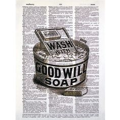 Washboard and Tub Laundry Print on a Vintage Dictionary Page