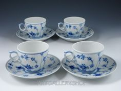 Royal Copenhagen Denmark Blue Fluted Plain Cups Saucers Set of 4 First Quality | eBay