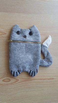 Grey cute cat Zip Purse Makeup Bag Coin Purse by celmonsterdesign