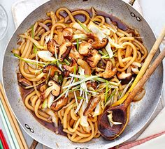 These thick, wheat noodles with mushrooms and cabbage are made for slurping - a lovely low-fat, low-calorie vegetarian supper                                                                                                                                                                                 More