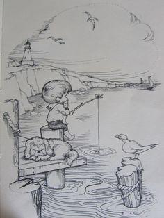 Kind zijn is een tijd van dromen....een tijd waarin alles mogelijk is en het fijnste nog moet komen. Abstract Pencil Drawings, Landscape Pencil Drawings, Landscape Sketch, Art Drawings Sketches, Cartoon Drawings, Nature Sketch, Illustrator, Drawing Techniques, Painting & Drawing