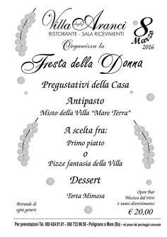Menù #festadelladonna 0804249161 #villadegliaranci #restaurant #polignanoamare