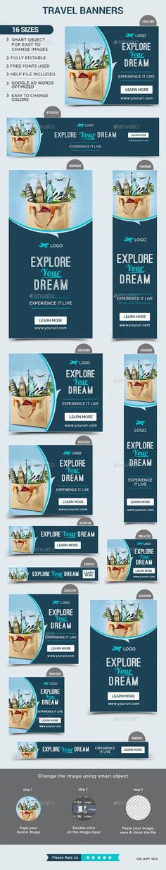 Buy Travel Banners by Hyov on GraphicRiver. Promote your Products and services with this great looking Banner Set. 16 awesome quality banner template PSD files r. Web Design, Web Banner Design, Graphic Design Layouts, Brochure Design, Layout Design, Web Banners, Branding, Digital Banner, Newsletter Layout