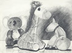 "The fault of many pencil drawings is that the student is too tentative, and the drawing lacks contrast. Here is a very STRONG drawing done with confidence. From the artist: ""Here are 3 soft toys and an apple! The difficult part here is how to make the toys appear furry and soft. Notice that the background behind the white pig is darkened so as to bring it out.""  More at http://xinyun92.wordpress.com/2008/06/05/pencil-sketches/"