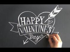 大人黒板、チョークレタリングでバレンタインデー