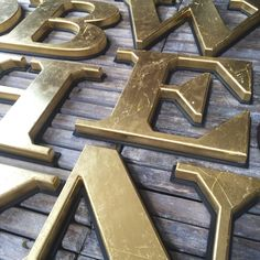Large Salvaged Gilt Gold Pub Letters