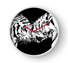 Clock 'tigers meet' by Mindgoop