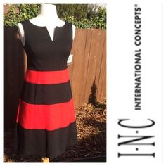 """🆕 Cocktail Dress Hip hugging Black and Red Dress by INC. unworn. Zips in back with hook/eye closure (replacement hooks attached). Originally purchased on sale. Style is """"Daring"""". Flawless condition. From a pet/smoke free home. INC International Concepts Dresses"""
