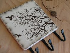 Bare Tree Branches Key Rack, Winter Tree Silhouette Key Holder, by shawn Crafts To Make, Fun Crafts, Crafts For Kids, Craft Projects, Projects To Try, Craft Ideas, Diy Ideas, Creative Ideas, Wall Key Holder