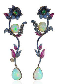 Lydia Courteille, Topkapi collection, earrings, Welo opal, sapphires, rubies, tsavorites, black rhodium gold